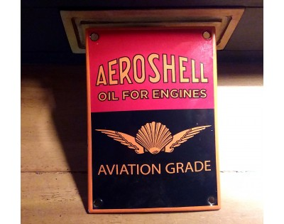 Plaque émaillée Aeroshell aviation motor oïl deco vintage garage